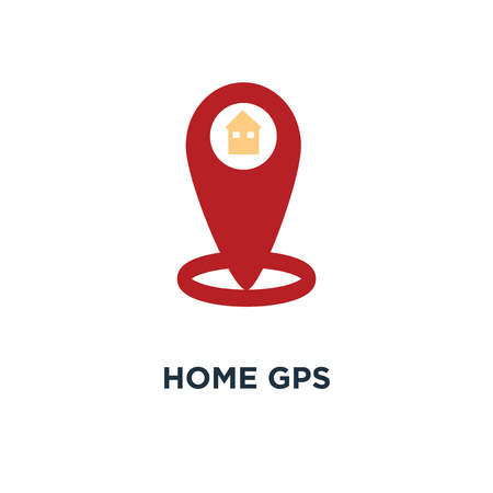 home gps icon, symbol of arrow pin, compass location concept map pointer, map pin