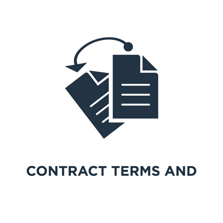 contract terms and conditions icon. document paper, thin stroke concept symbol design, creative writing, storytelling, read brief summary, assignment vector illustration 向量圖像