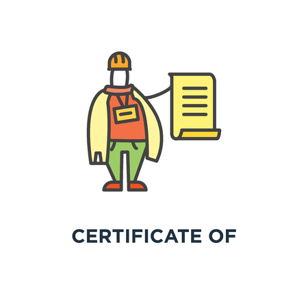 certificate of quality icon, symbol of handyman or builder with contract in his hand, he says that everything will be done perfectly, outline, concept construction license, cute cartoon character