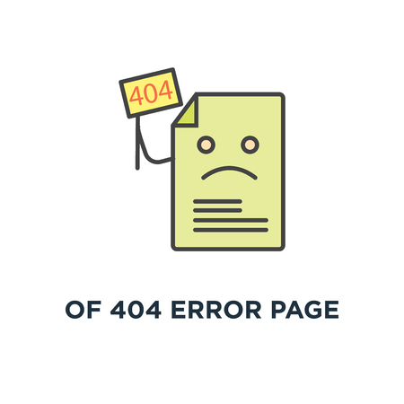 of 404 error page or file not found icon, symbol of page with flag 404 on laptop display concept