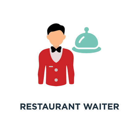 restaurant waiter with tray. service icon. catering sign concept symbol design, vector illustration