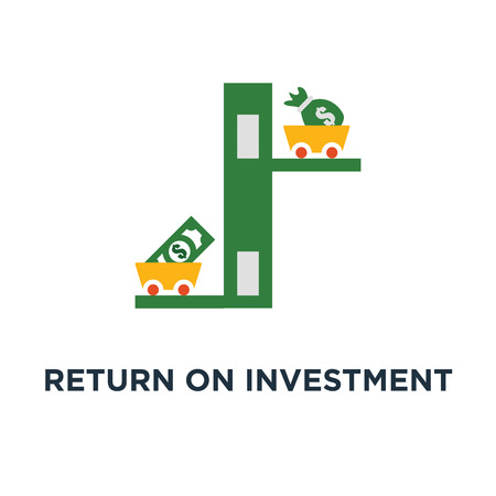 return on investment icon. income growth, mutual fund, low risk, business profit concept symbol design, revenue increase, financial productivity, fund raising, evaluation vector illustration