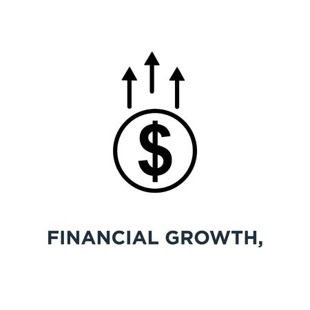 financial growth, linear sign icon. editable eps10 concept symbol design, vector illustration