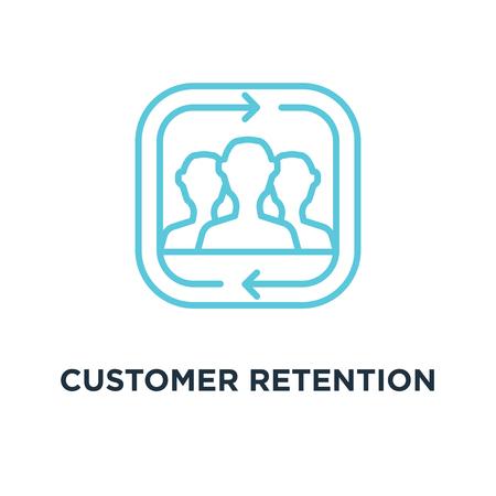 customer retention icon. returning clients linear concept symbol design, vector illustration