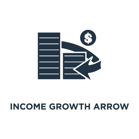 income growth arrow icon. financial management, interest rate, fund raising, money bills stack concept symbol design, return on investment, budget expenses, mutual fund, bank savings account vector illustration