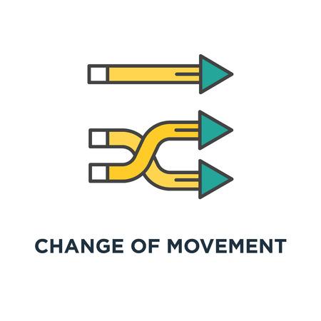 icono de cambio de dirección de movimiento. diseño de símbolo de concepto de reemplazo de corriente, cambio de desarrollo, carril, camino o ruta, transferencia, varias flechas de navegación se giran en una dirección, contorno, Ilustración de vector