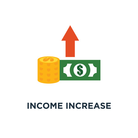 income increase icon. financial strategy, revenue growth, interest rate, loan installment concept symbol design, high return on investment, budget balance, fund raising, long term increment vector illustration