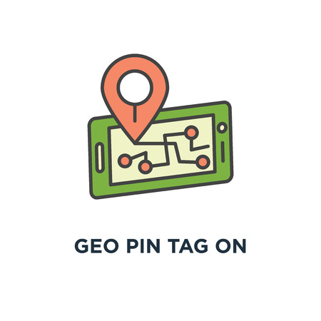 geo pin tag on mobile phone display, smartphone with map on screen, gps icon. destination concept symbol design, traveling, map navigation, location, road direction and pointer marker, outline,