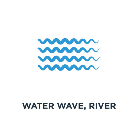 water wave, river water icon. nature element, ocean or sea concept symbol design, vector illustration Stock Illustratie
