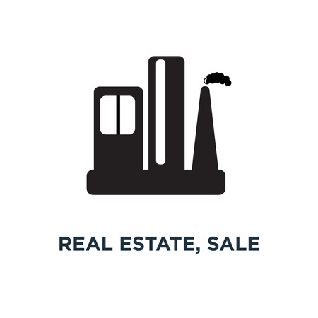 real estate, sale and rent symbols icon, symbol of commercial residential building, property mortgage silhouette concept