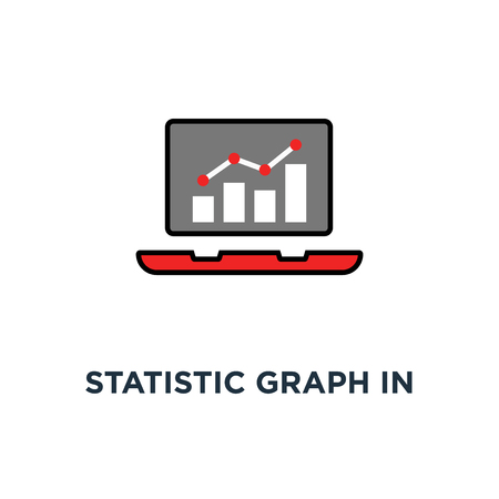 statistic graph in cartoon laptop like growth icon, symbol style trend modern simple design on green background concept of expansion indicator for expense or productivity profit rise or gain info