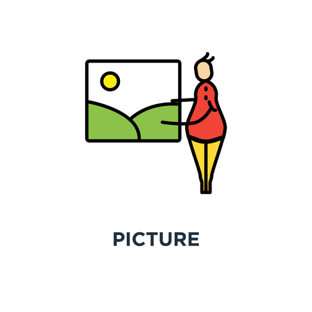 picture icon. photo gallery, photo album, cute cartoon character puts, sending or attaching the picture to the frame, outline, concept symbol design, art, exhibitions, painting, portfolio vector