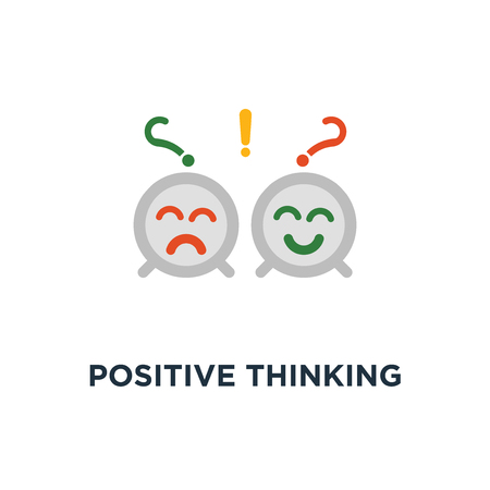 positive thinking icon. negative emotion, poor service quality, optimism attitude, pessimism concept symbol design, bad experience, good feedback, happy client, unhappy customer vector illustration