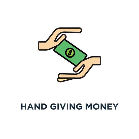 Hand, die Geldscheine an eine andere Hand gibt und Geldsymbol erhält. Zahlung, Schuldentilgung, Umriss Business Design, Konzept Symbol Design, Spende, Hilfe, Transaktion, Wohltätigkeit oder Zahltag Vektor