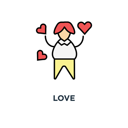 love icon. sympathy, woman in love surrounded by flying hearts or likes, outline modern, concept symbol design, positive emotion, delight, romantic mood, amorous delight, cute funny female vector Stock Illustratie