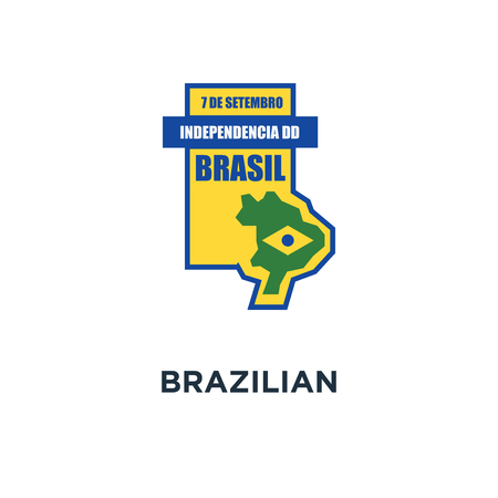 brazilian independence day badge icon. with geometric map and flag concept symbol design, flat design vector illustration Stock Illustratie