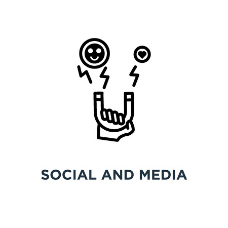 social and media influence, linear sign icon. editable eps10 concept symbol design, vector illustration