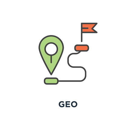 geo icon. gps location tag or pointer concept symbol design, proximity, global network connection, location, navigation way or road to target point, outline minimalistic, vector illustration Ilustrace