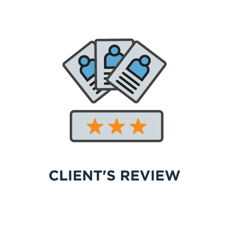 client's review icon. customer feedback concept symbol design, user's comment or satisfaction level, portraits of three people and evaluation stars below, outline, for website, mobile, apps, vector