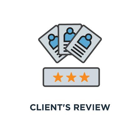 Pictogram van de beoordeling van de klant. klantfeedback conceptontwerp symbool, gebruikerscommentaar of tevredenheidsniveau, portretten van drie mensen en evaluatiesterren hieronder, overzicht, voor website, mobiel, apps, vector Stockfoto - 109719723