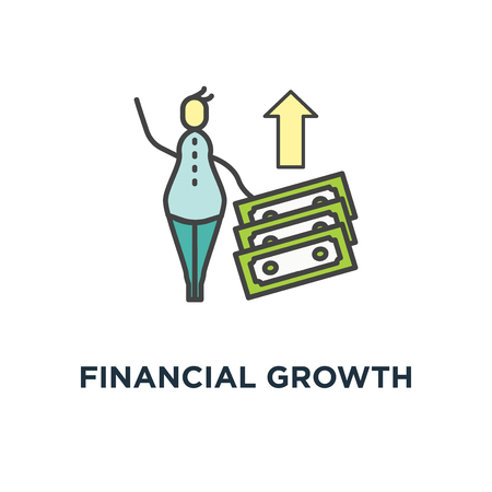 financial growth icon. compound interest, money return or budget management, cute cartoon man with two with two stacks of money, concept symbol design, added value, financial investments, future Illustration