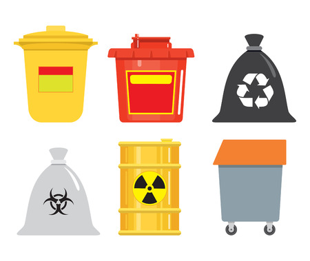 Garbage container. A bucket, a sack, a barrel, a box. Dangerous goods. Radioactive element. Harmful waste