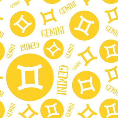 Zodiac sign seamless pattern. Gemini. Astrological calendar background. Zodiacal color vector horoscope