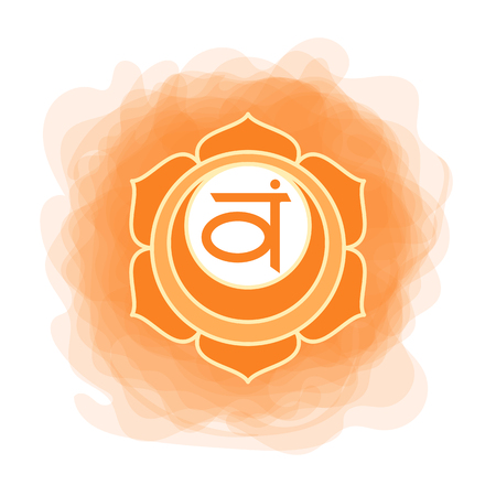 Swadhisthana icon. the second sacral chakra. Vector orange smoky circle. Line symbol. Meditation sign Ilustrace