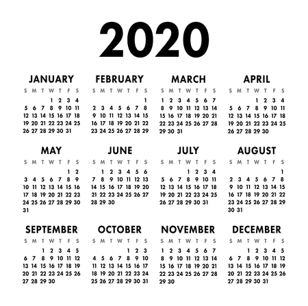 Calendar 2020 year. Black and white vector template. Week starts on Sunday. Basic grid. Pocket square calender. Ready design