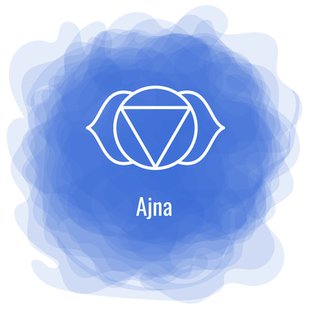 Ajna icon. The sixth frontal chakra. Third eye. Vector indigo blue smoky circle. Line symbol. Sacral sign. Meditation