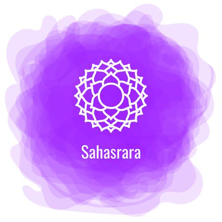 Sahasrara icon. The seventh crown, parietal chakra. Vector purple smoky circle. Line symbol. Sacral sign. Meditation Illustration
