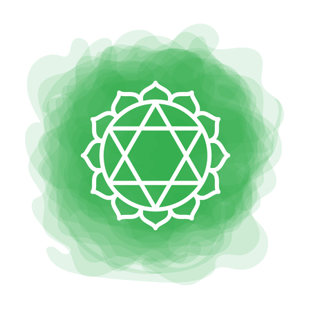 Anahata icon. The fourth heart chakra. Vector green smoky circle. Line symbol. Sacral sign. Meditation