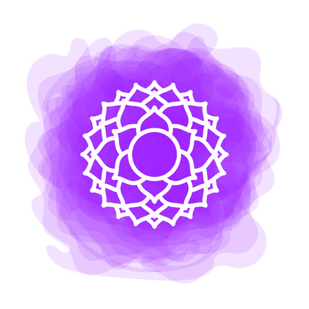 Sahasrara icon. The seventh crown, parietal chakra. Vector purple smoky circle. Line symbol. Sacral sign. Meditation Illustration