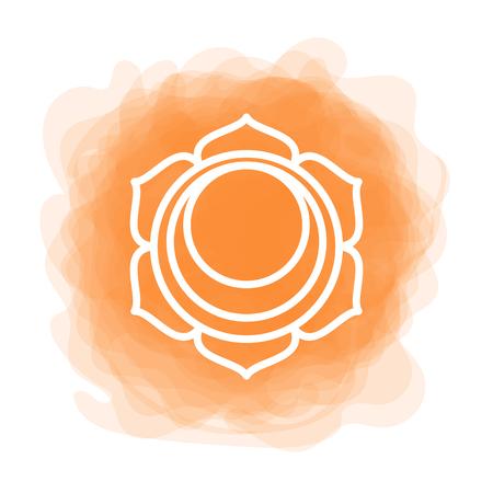 Swadhisthana icon. the second sacral chakra. Vector orange smoky circle. Line symbol. Meditation sign Illustration