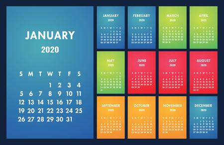 Cuadrícula básica del vector del calendario 2020. Plantilla de diseño simple. Calendario de pared inglés