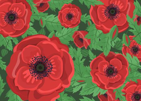Fond floral pour invitation de mariage. Fleurs de pavot. Modèle de conception de vecteur. Carte de voeux. Vacances. Coquelicots rouges