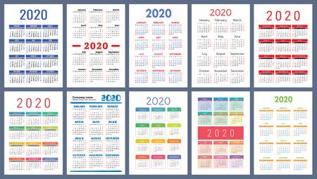Kalender 2020. Buntes Set. Woche beginnt am Sonntag. Grundraster. Englische Vektorkalendersammlung für den Druck. Neujahr. Farbe schlichtes Design Vektorgrafik