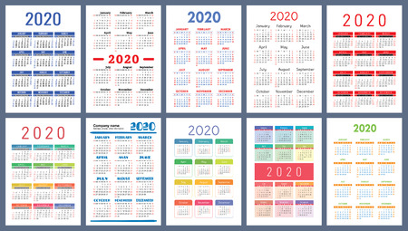 Calendar 2020. Colorful set. Week starts on Sunday. Basic grid. English vector calender collection for print. New year. Color simple design