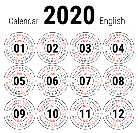 Calendar 2020. Vector English round calender. January, February, March, April, May, June, July, August, September, October, November, December. Sunday. Design template. Circle