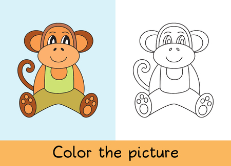 Coloring book. Monkey, macaque. Cartoon animall. Kids game. Color picture. Learning by playing. Task for children