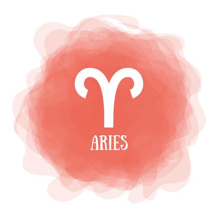 Bélier. Signe du zodiaque. Calendrier astrologique. Horoscope vectoriel de couleur zodiacale. Cercle enfumé. Symbole de ligne