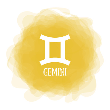 Gemini. Zodiac sign. Astrological calendar. Zodiacal color vector horoscope. Smoky circle. Line symbol Ilustração