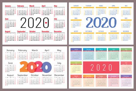 Calendar 2020 vector pocket basic grid. Colorful design template Calender set. Collection