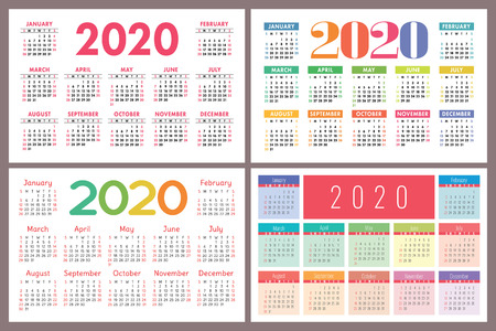 Calendar 2020 vector pocket grid. Simple design template Calender set. Collection Vetores