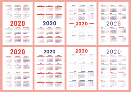 Calendar 2020 year. Vector template collection. English wall calender set. Week starts on Sunday