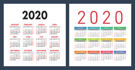 English calendar 2020 year. Vector calender design template. Colorful set. Week starts on Sunday
