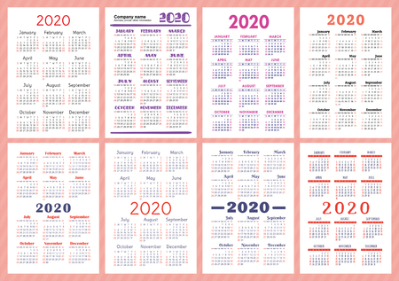 Calendar 2020 year. Vector template collection. Simple English pocket calender set. Week starts on Sunday