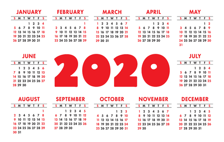 Calendar 2020 vector grid. English template. Kids design 矢量图像