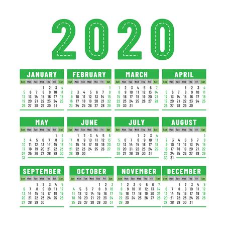 Calendar 2020. English color vector design. Week starts on Sunday. Square calender design template