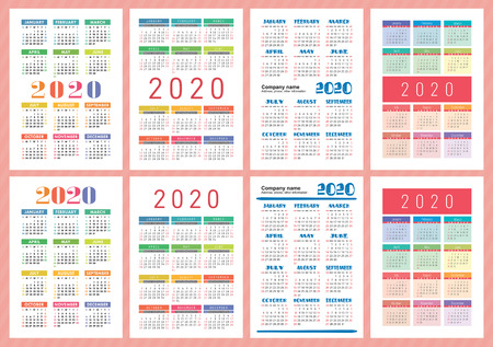 Good calendar 2020 year. Vector template collection. Colorful English pocket calender set. Week starts on Sunday Illustration